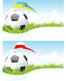 Soccer background. Soccer cloudscape background with ball and flag Stock Photo