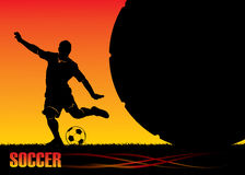 Soccer background. Vector illustration of soccer player and ball Royalty Free Stock Photos