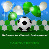 Soccer background with ball and balloons for tournament Stock Photo