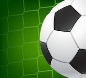Soccer background. Soccer ball on the background grid goalie gate Royalty Free Stock Photo