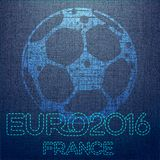 Soccer background with ball. Original illustration sports series. Classical football poster. Euro championship Royalty Free Stock Image