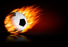 Soccer background with a flaming ball. Royalty Free Stock Photo