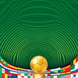 Soccer Background with Golden Cup and Flags. Stock Photo