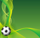 Soccer background. Background illustration that has a soccer ball in black and white, rays that come out of it, shapes and gradients all of them in green and Royalty Free Stock Photo