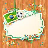 Soccer background with label and Brazilian flag Stock Photography