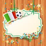 Soccer background with label and Italian flag Stock Photography