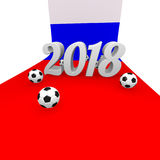 Soccer background 2018 in Russia. 3d rendering image Royalty Free Stock Photo