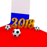 Soccer background 2018 in Russia. 3d rendering image Royalty Free Stock Image