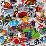 Soccer background. Seamless pattern. Football attributes, football figures of various teams on a gray background. Soccer background. Seamless pattern. Football Royalty Free Stock Image