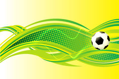Soccer background. Soccer template with lots of curvy shapes and gradients that give the sensation of motion. It has a football ball on it. The ball is black and stock illustration