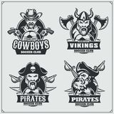 Soccer badges, labels and design elements. Sport club emblems with pirate,cowboy and viking. Vector Royalty Free Stock Photography