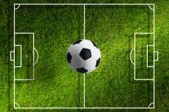 Soccer bal above stadium Stock Images