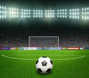 Soccer bal.football,. On the stadium. abstract football or soccer backgrounds Royalty Free Stock Images