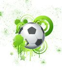 Soccer ball 02. Soccer ball with green graphic objects and spray drips, paint splash Royalty Free Stock Photo