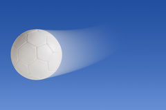 Soccer ball. Trail on blue background with clipping path stock illustration