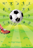 Soccer ball. Image of a soccer athlete who is kicking a soccer ball Stock Images
