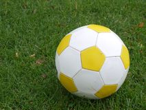 Soccer ball. White and yellow soccer ball, on green grass Stock Images