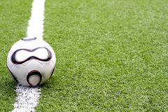 Soccer ball. On the out line of the football field Royalty Free Stock Photo