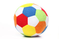 Soccer ball. Toy soccer ball made from multicolored patches of cloth Royalty Free Stock Photo