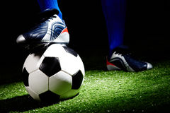 Soccer ball. Horizontal image of soccer ball and shoes royalty free stock photos