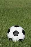 Soccer ball. Classic black and white soccer ball on green grass royalty free stock photos