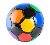 Soccer ball. Multicolored soccer ball isolated on white background royalty free stock images