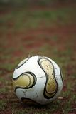 Soccer ball. Is laying on the grass stock photo