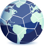 Soccer ball. With world map isolated over a white background Stock Photo