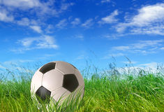 Soccer ball. On grass, blue sky as background Stock Photography