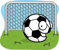 Soccer Ball. A soccer ball in front of the goal Royalty Free Stock Photo