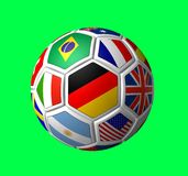 Soccer ball 2006. Rendered soccer ball over green background with labeled segments of the flag Royalty Free Stock Photos