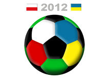 Soccer ball 2012. Soccer ball, flag of Poland and flag of Ukraine on a white background Stock Photo