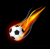 Soccer Ball. With fire and smoke Stock Images