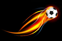 Soccer Ball. Flying Soccer Ball on Fire Royalty Free Stock Photography