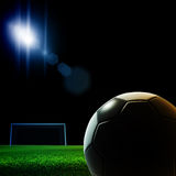 Soccer ball. Detail on black background Royalty Free Stock Photos
