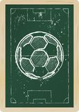 Soccer ball. Drawing on a chalkboard Royalty Free Stock Photography