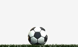 Soccer ball. On green field Royalty Free Stock Photo