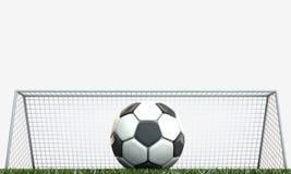 Soccer ball. On green field Stock Photos