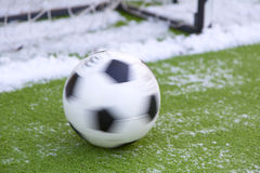 Soccer ball. In winter for training Royalty Free Stock Photos