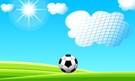 Soccer Ball. A Soccer Ball on landscape background Stock Photography