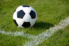 Soccer ball. On the field Royalty Free Stock Image
