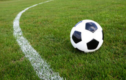 Soccer ball. On the field Royalty Free Stock Photos