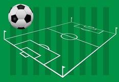 Soccer Ball on 3D Football Field stock photography