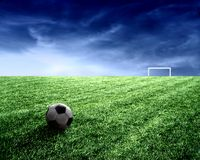 Soccer ball. A soccer ball in stadium Stock Images