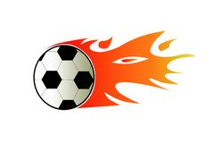 Soccer Ball. In Flames. isolated Royalty Free Stock Photos