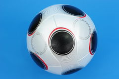 Soccer Ball. UEFA Championship soccerball on blue background royalty free stock image
