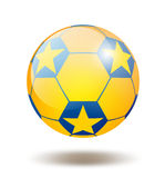 Soccer ball. Blue and yellow glass soccer ball illustration vector illustration