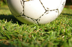 Soccer ball. A close up of a soccer ball on grass stock photos