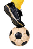 Soccer ball. Isolated soccer player and ball Royalty Free Stock Image