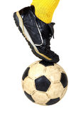 Soccer ball. Isolated soccer ball and foot Stock Image